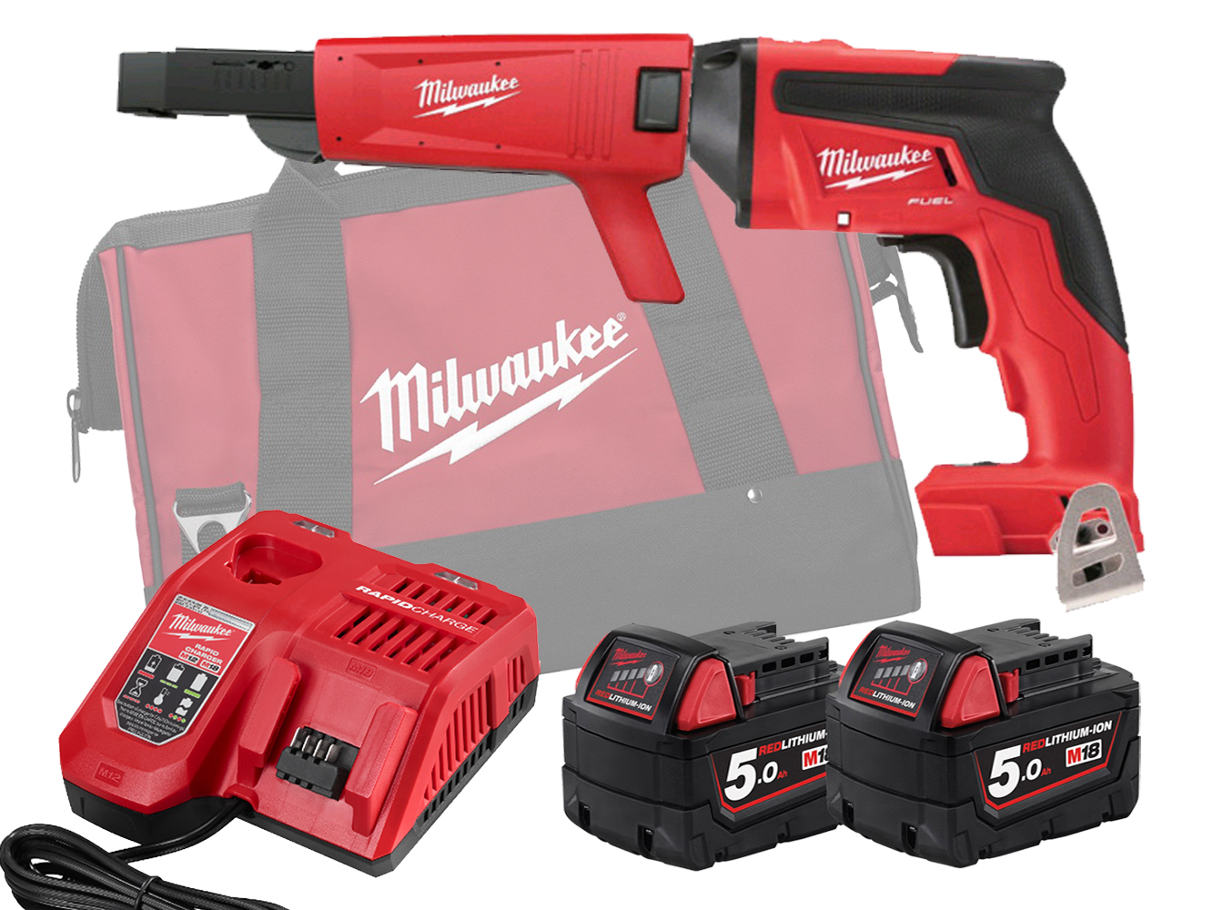 Milwaukee M18FSGC 18V Fuel Screw Gun With Collated Attachment - 5.0Ah Pack