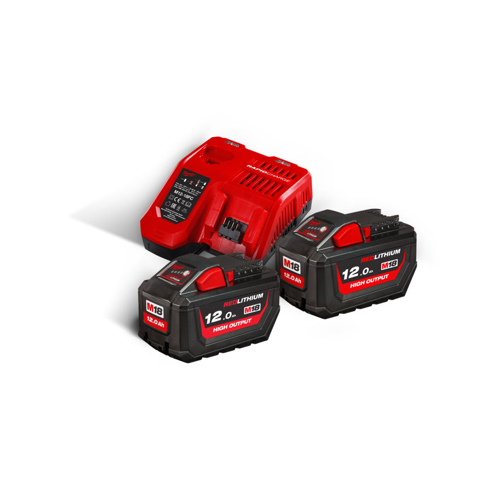 Milwaukee M18HNRG-112 M18HB12 High-Output 18V 12.0ah Lithium-Ion Batteries (x2) & M12-18FC Fast Charger