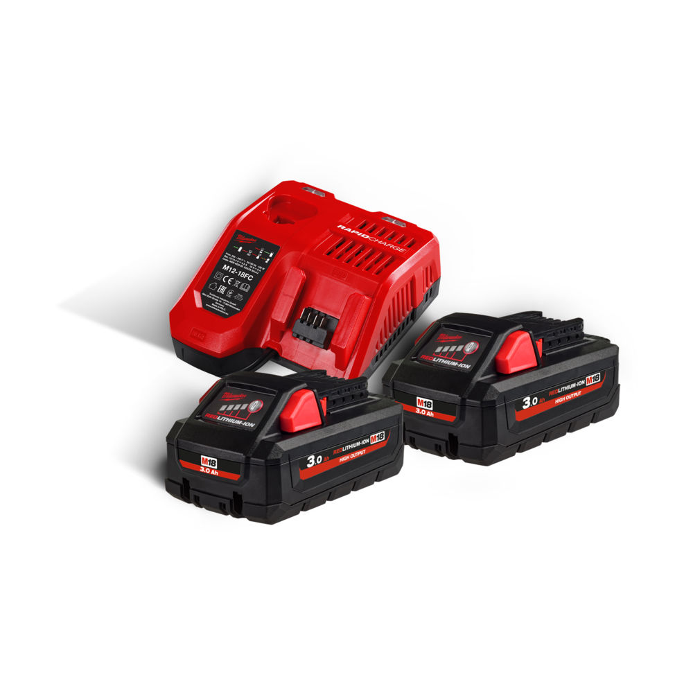 Milwaukee M18HNRG-302 M18HB3 High-Output 18V 3.0ah Lithium-Ion Batteries (x2) & M12-18FC Fast Charger