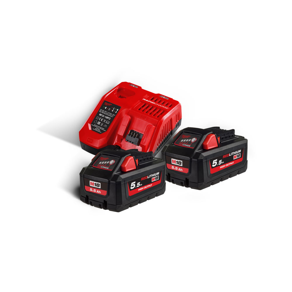 Milwaukee M18HNRG-552 M18HB55 High-Output 18V 5.5ah Lithium-Ion Battery (x2) & M12-18FC Fast Charger