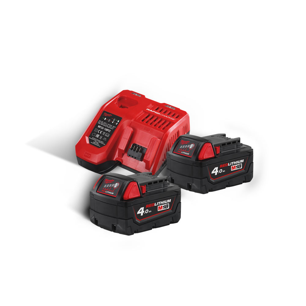 Milwaukee M18NRG-402 M18B4 18v 4.0ah Lithium-Ion Battery Twin Pack & M12-18FC Fast Charger