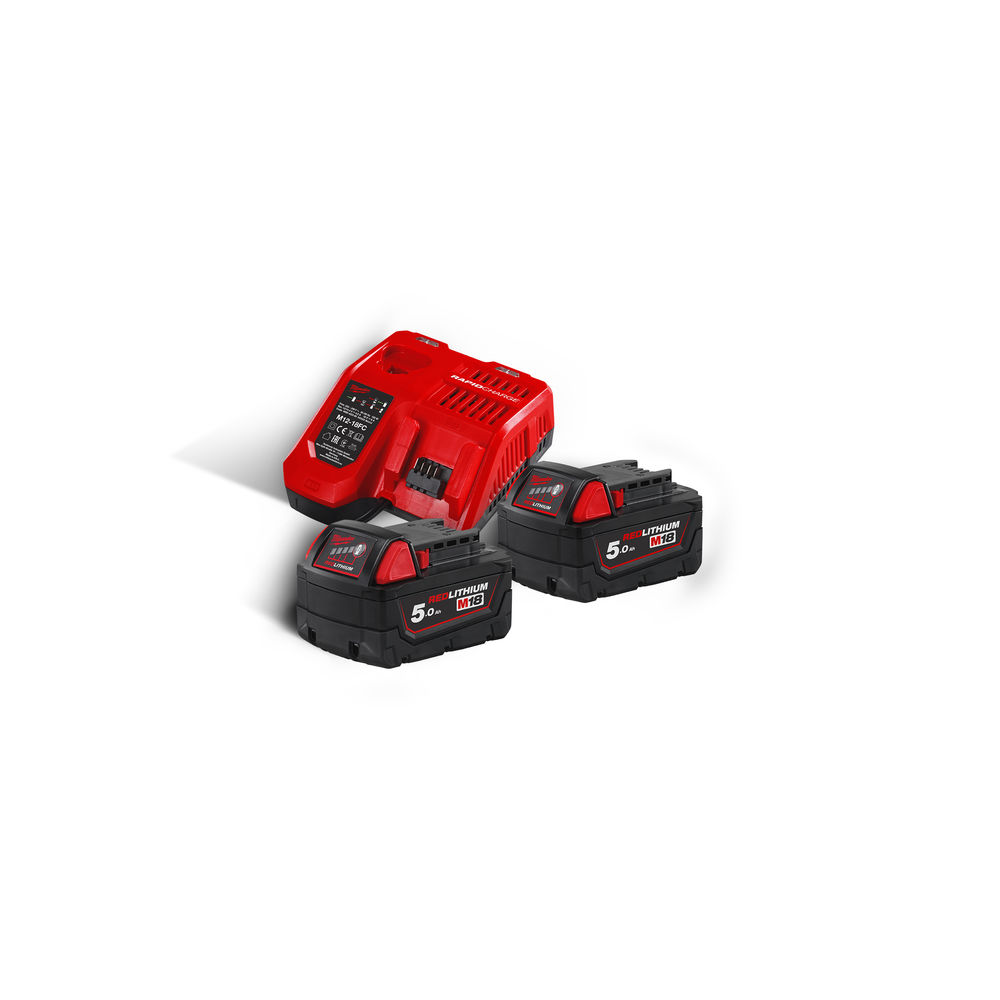 Milwaukee M18NRG-502 M18B5 18V 5.0ah Lithium-Ion Battery Twin Pack & M12-18FC Fast Charger