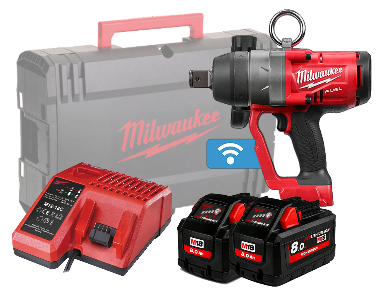 Milwaukee M18ONEFHIWF1 One-Key 18V 1In Heavy-Duty Impact Wrench - 8.0Ah Pack
