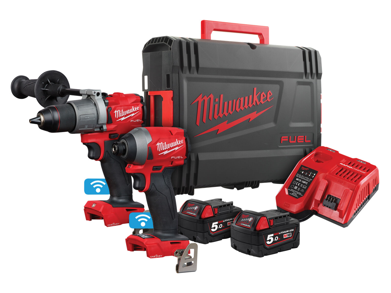 Milwaukee M18ONEPP2A2-502X One-Key 18V Fuel Combi Drill & Impact Driver Twin Pack - 5.0Ah Pack