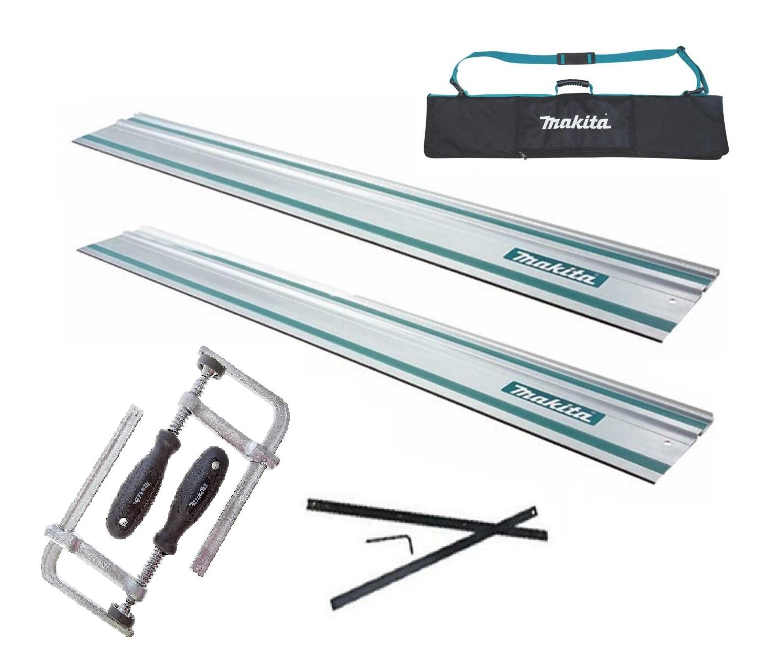 Makita Guide Rail Pack - x2 1.5 Metre Guide Rails / Connector / Clamps & 1.5 Metre Bag