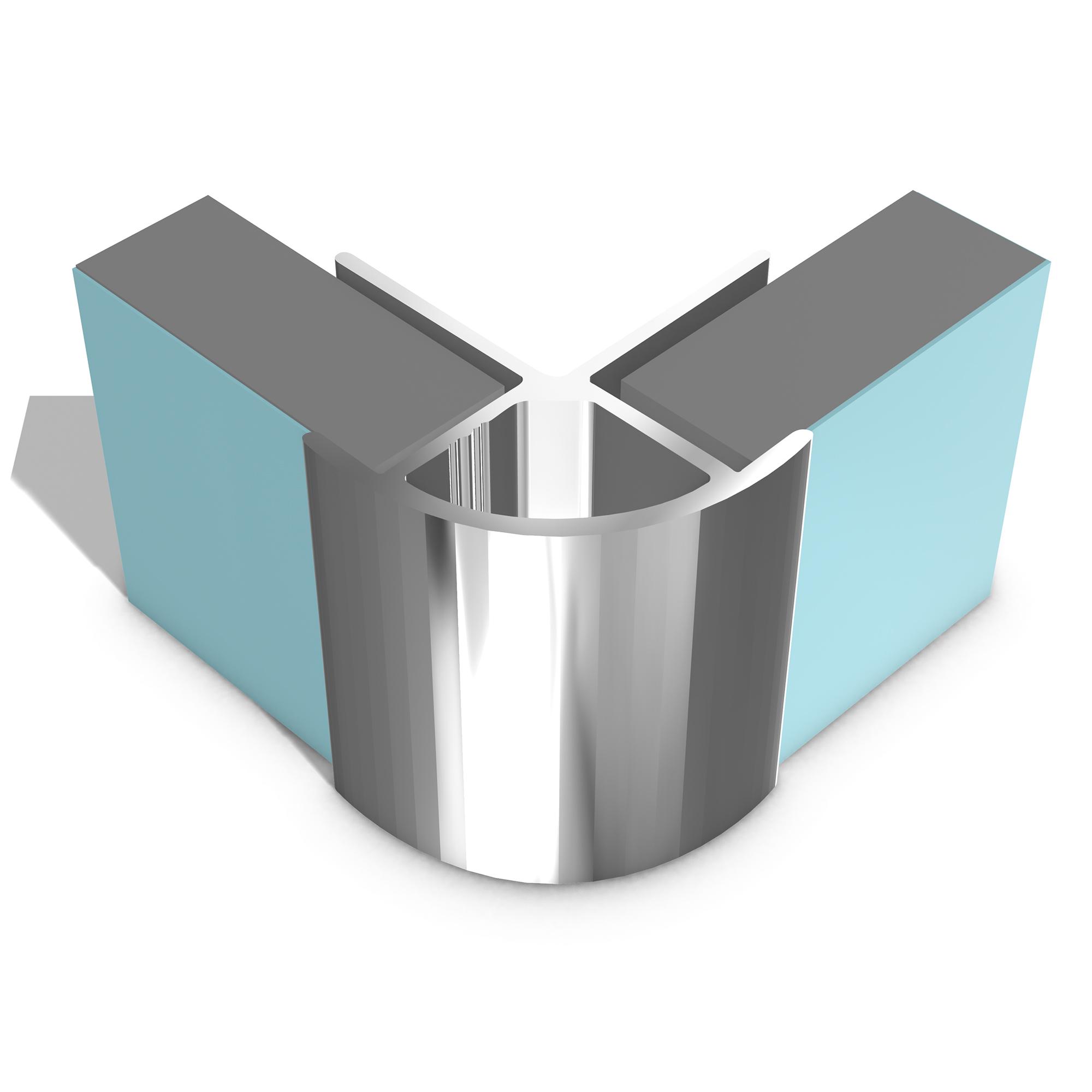 Multipanel Economy Range - Type W External Corner 2.5 Metre - Bright Polished Silver