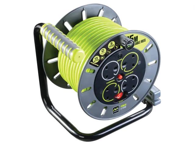 Masterplug PRO-XT Cable Reel 240V - 25M 13A Open Reel - OMU25134SL-PX