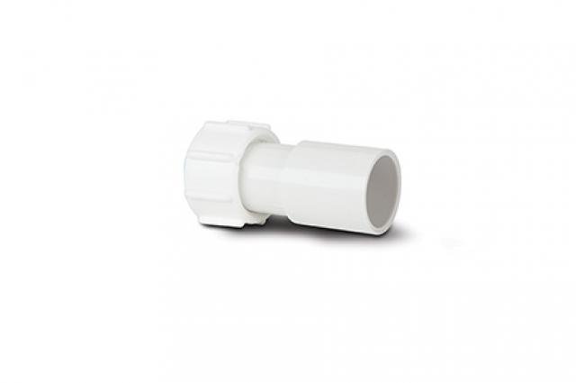 POLYPIPE NS47W OVERFLOW 21.5MM STRAIGHT FEMALE ADAPTOR WHITE
