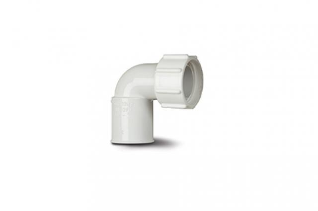 POLYPIPE NS48W OVERFLOW 21.5MM FEAMLE ADAPTOR BENT WHITE