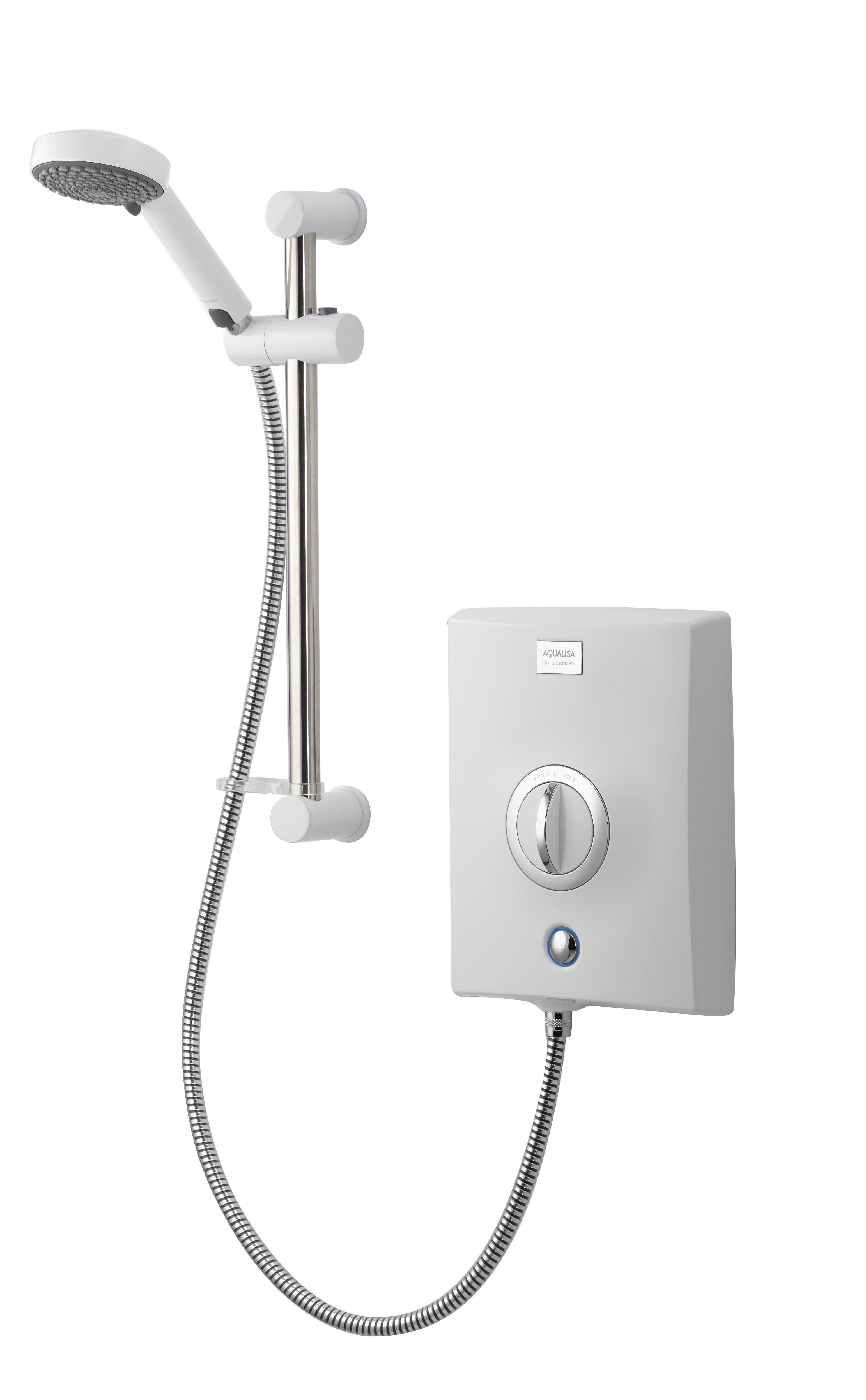 AQUALISA QUARTZ ELECTRIC SHOWER 9.5KW - WHITE / CHROME