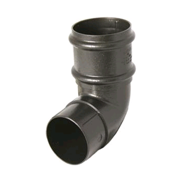 FLOPLAST RB8CI 68MM ROUND DOWNPIPE - 92.5* OFFSET BEND - FAUX CAST IRON