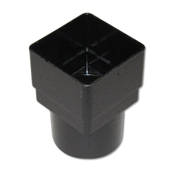 FLOPLAST RDS2CI 65MM SQUARE TO 68MM ROUND DOWNPIPE CONNECTOR - FAUX CAST IRON
