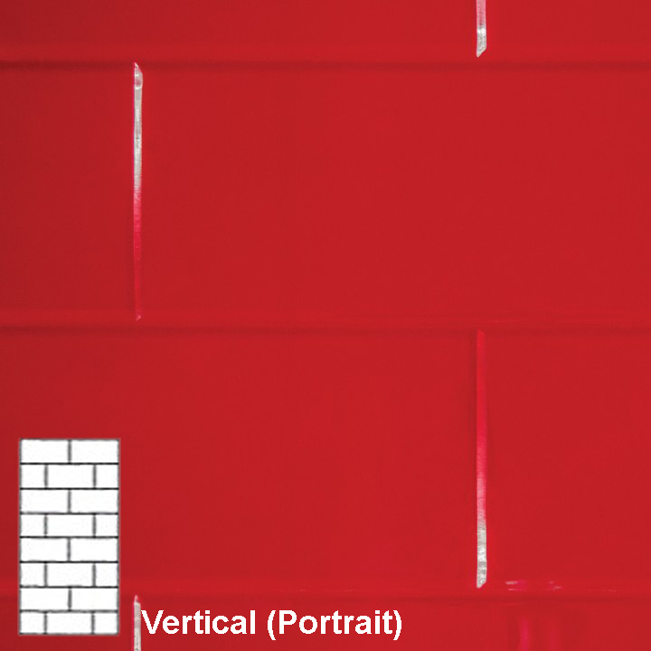 TILEPANEL BRICK VERTICAL TILES 2440MM X 1220MM RED GLOSS