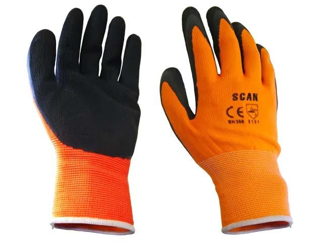 Scan Hi-Vis Orange Foam Latex Coated Gloves - Size 9 (Large)