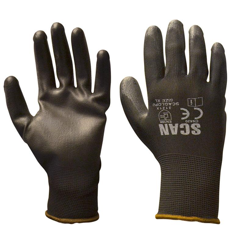 Scan Black PU Coated Gloves - Size 9 (Large)