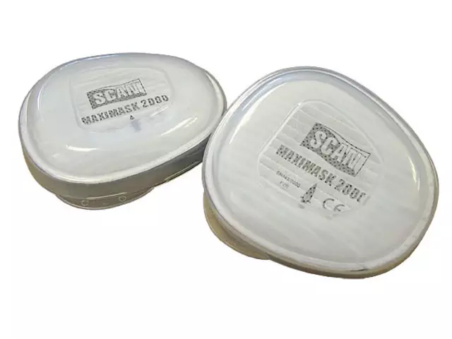 SCAN TWIN HALF MASK RESPIRATOR FILTER REPLACEMENT CARTRIDGE P2 (PACK OF 2)