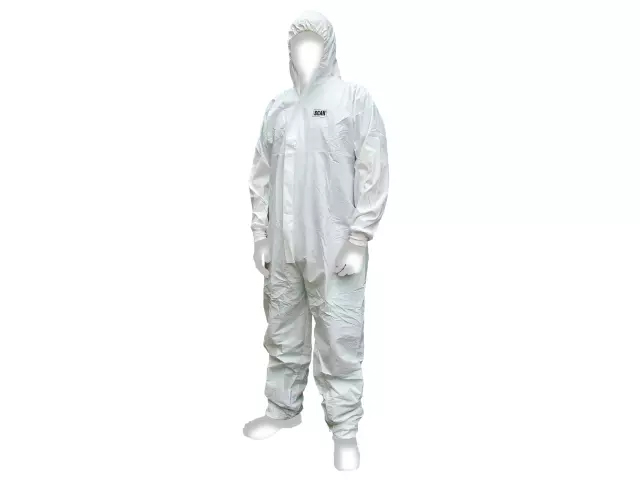 SCAN CHEMICAL SPLASH RESISTANT DISPOSABLE COVERALL WHITE TYPE 5/6 lARGE (39-42IN)