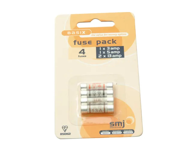 SMJ PACK OF 4 MIXED FUSES (1X3A/1X5A/2X13A) - FUMXAC-DX