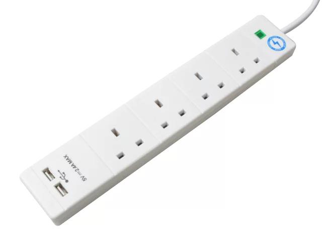 SMJ EXTENSION LEAD 4 WAY 2M SURGE 2 X USB - S4WUSB