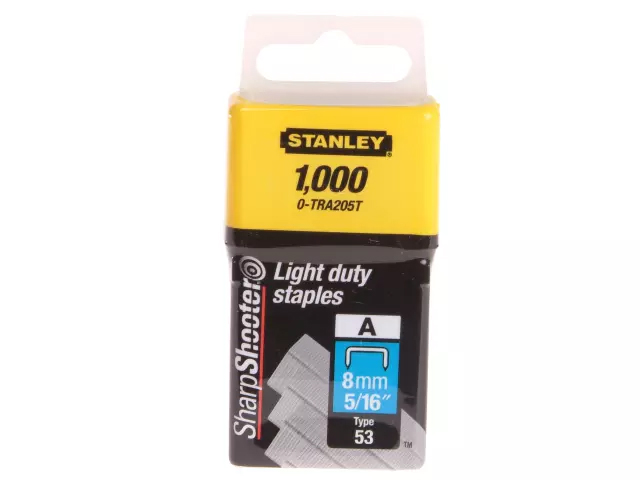 STANLEY TRA2 LIGHT-DUTY STAPLE 8MM TRA205T PACK 1000