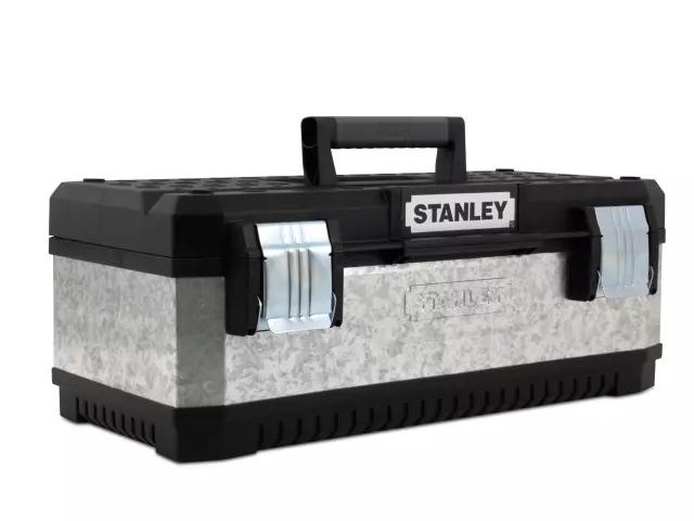 STANLEY GALVANISED METAL TOOLBOX 58CM (23IN) - 1-95-619