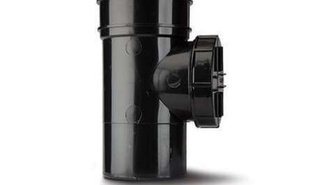 Polypipe 110mm / 4In Soil Solvent Short Access Pipe Single Socket Black