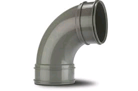 "POLYPIPE SWB71SG 82MM / 3"" SOLVENT SOIL 92.5 DEGREE BEND DOUBLE SOCKET GREY"