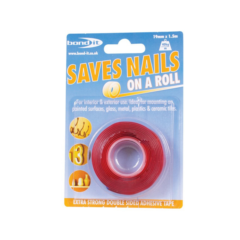 BOND IT SAVES NAILS DOUBLE SIDED ADHESIVE TAPE CLEAR 19MM X 1.5M BDSN2T