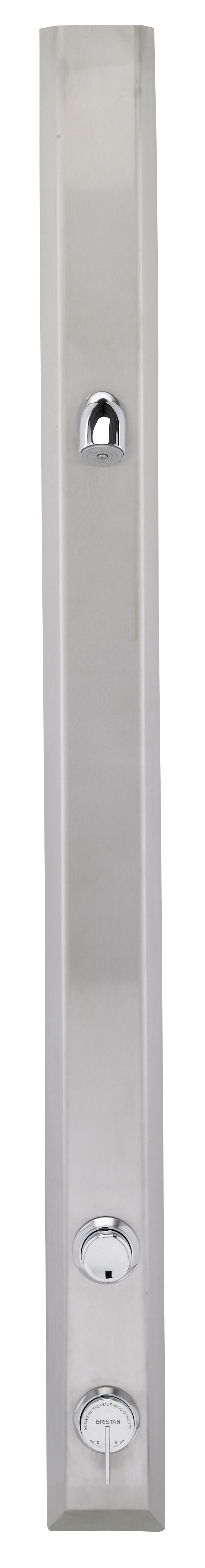Bristan Timed Flow Thermostatic Shower Panel with Anti Vandal Resistant Shower Head