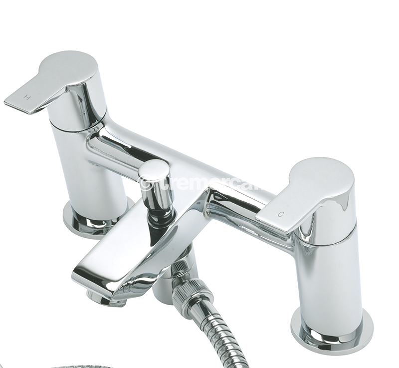 TRE MERCATI ANGLE PILLAR BATH SHOWER MIXER COMPLETE WITH KIT CHROME PLATED
