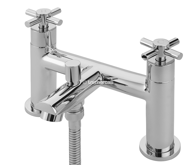 TRE MERCATI ERIN PILLAR BATH SHOWER MIXER COMPLETE WITH KIT CHROME PLATED