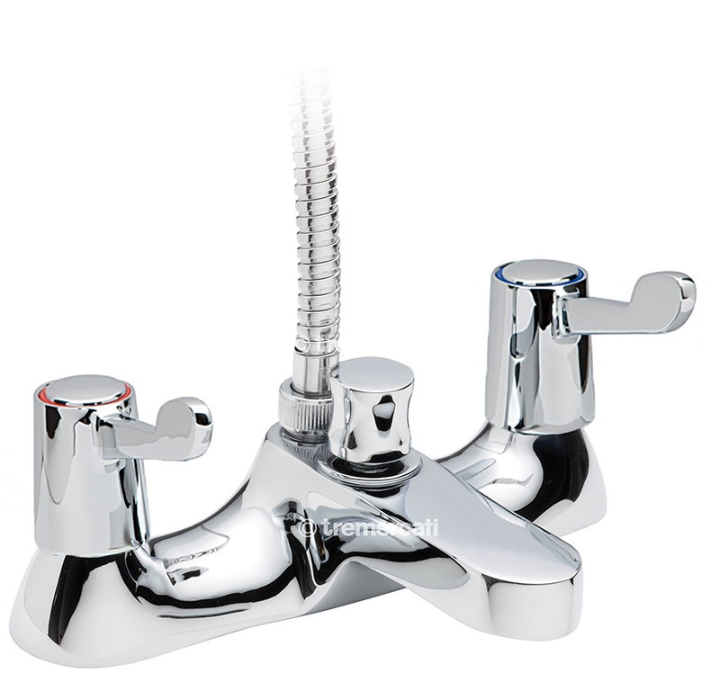 "TRE MERCATI CAPRI LEVER DECK BATH SHOWER MIXER COMPLETE WITH KIT - CERAMIC DISC VALVES - 3"" LEVERS - CHROME PLATED"