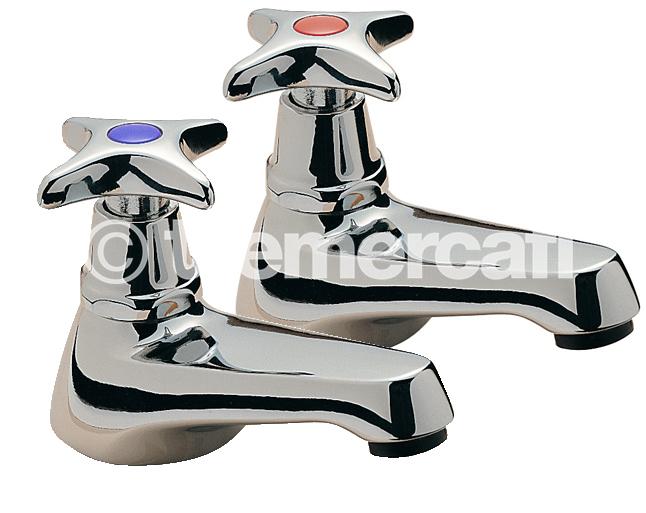 Tre Mercati Capri Crosshead Pair of Bath Taps - Chrome Plated (CP)