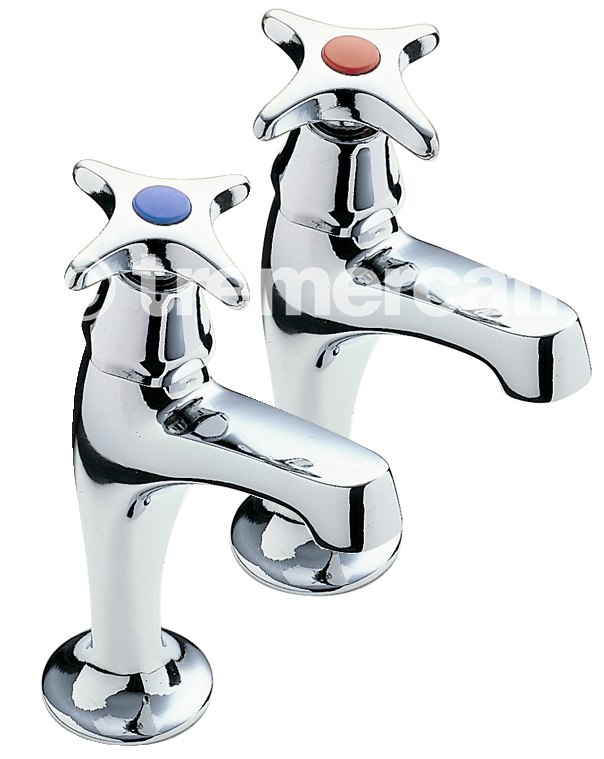Tre Mercati Capri Crosshead Pair of High Neck Sink Pillar Taps - Chrome Plated
