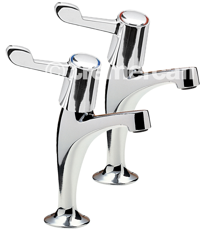 Tre Mercati Capri Pair of High Neck Lever Pillar Taps - Ceramic Disc - 3In Levers - Chrome Plated