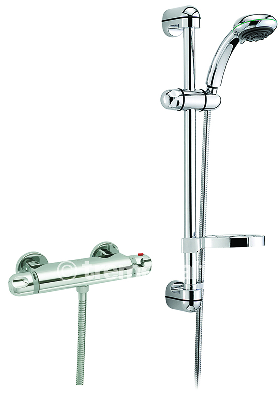 TRE MERCATI ROMA EXPOSED THERMOSTATIC SHOWER VALVE COMPLETE WITH EUROPA SLIDING RAIL KIT CHROME PLATED