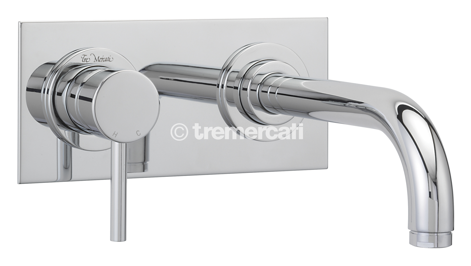 TRE MERCATI MILAN 2 HOLE WALL MOUNTED BASIN MIXER WITH SHORT SPOUT (150MM) - CHROME PLATED