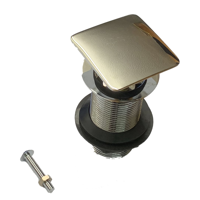 Tre Mercati Square 1.1/4In Bsp Brass Basin Pop-Up Waste - Finger Tip Control (Unslotted) - Chrome Plated