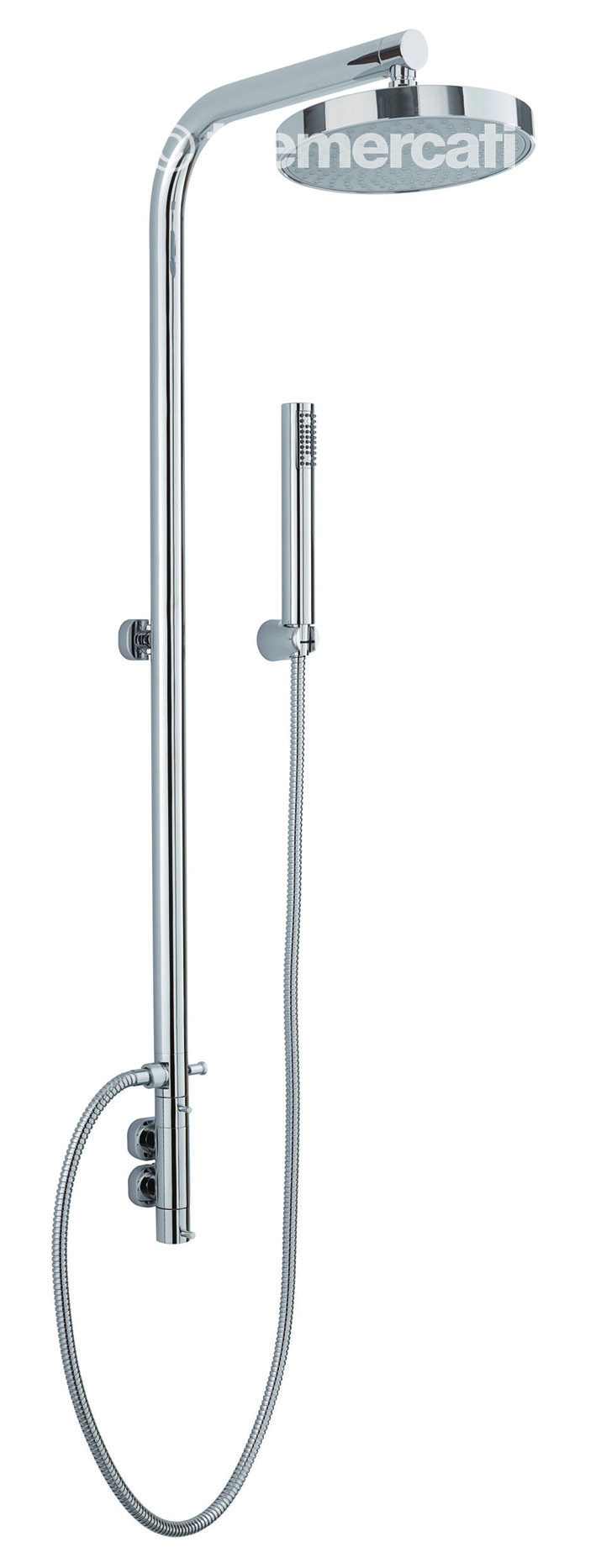 TRE MERCATI VERTICA EXPOSED THERMOSTATIC VERTICAL SHOWER VALVE COMPLETE WITH RISER POLE AND ROSE CHROME PLATED
