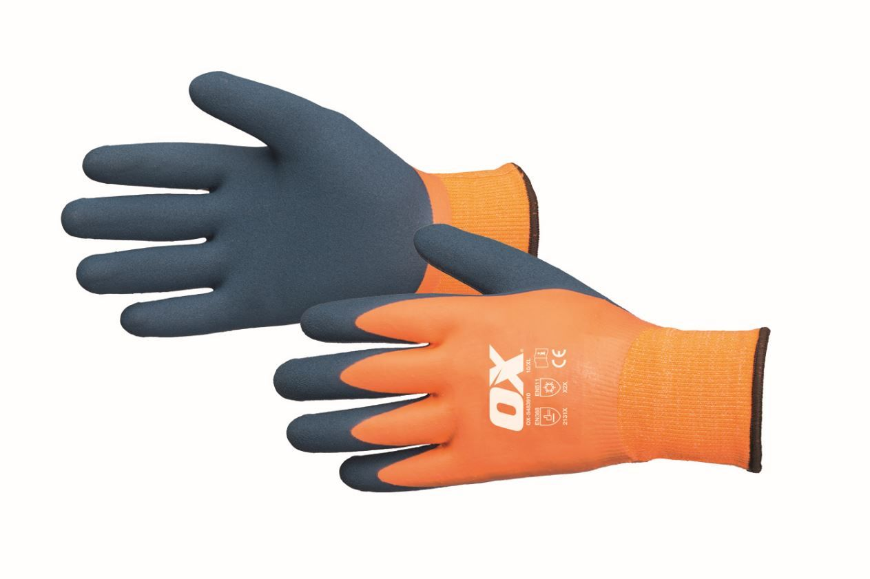 Ox Safety Thermal Grip Waterproof Gloves Size 9 (Large)