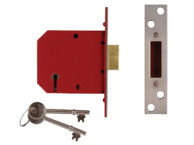 UNION 2101 5 LEVER MORTICE DEADLOCK SATIN CHROME FINISH 65MM (2.5IN)