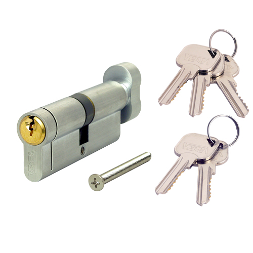 VERSA EURO KEY & THUMB TURN CYLINDER 30/30 (60MM) NICKEL/BRASS