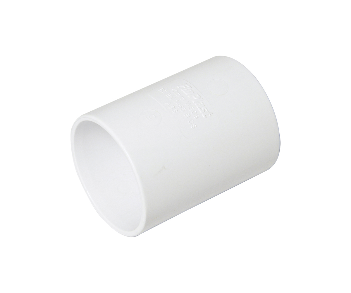 FLOPLAST WS07WH 32MM ABS SOLVENT WELD WASTE - COUPLING - WHITE