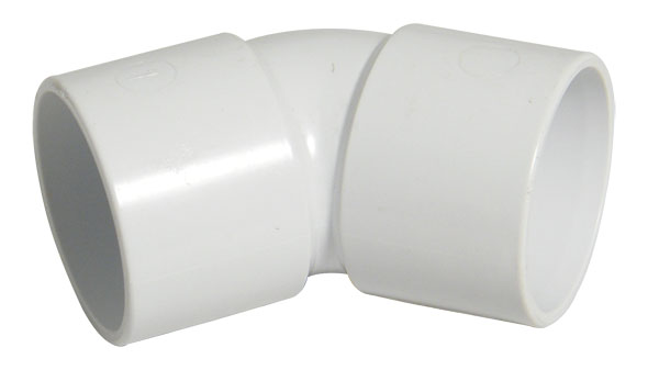 Floplast WS18WH 32mm (36mm) ABS Solvent Weld Waste System 135 Degree (45) Bend - White