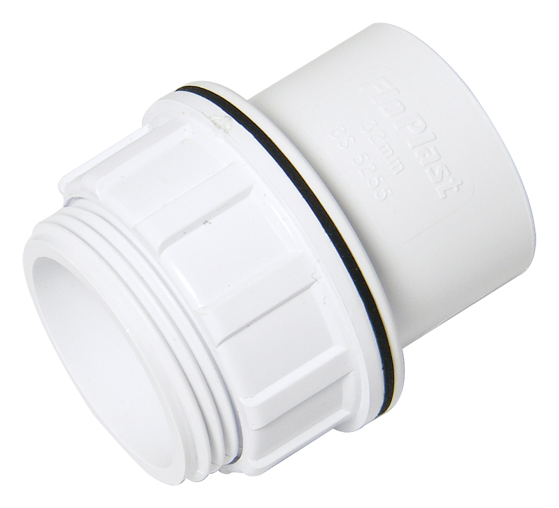 Floplast WS60WH 32mm (36mm) ABS Solvent Weld Waste System Tank Connector - White