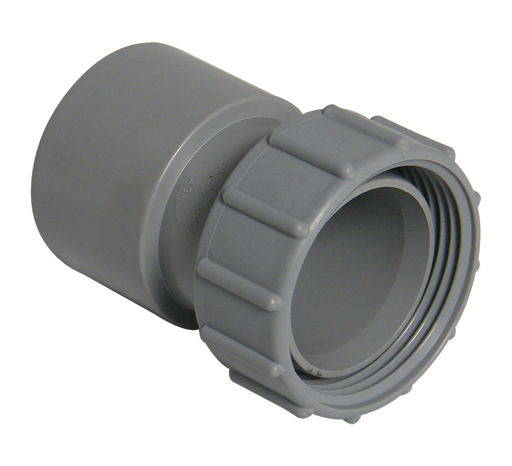 FLOPLAST WS66 32MM ABS SOLVENT WELD WASTE - FEMALE ADAPTOR - GREY