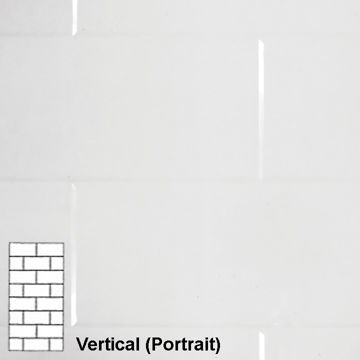 TILEPANEL BRICK VERTICAL TILES 2440MM X 1220MM WHITE GLOSS