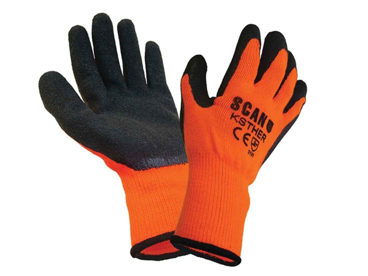 Scan Hi-Vis Latex Thermal Gloves - Meduim (8) (Pack of 5 Pairs)