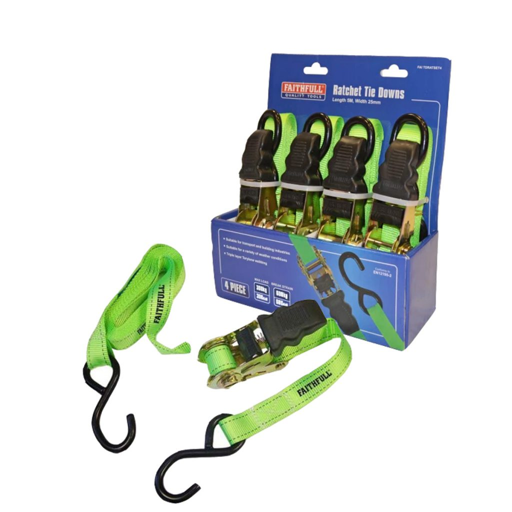 Faithfull Ratchet Tie-Downs 5 Metre x 25mm Green 4 Piece Max Working Load 300Kg